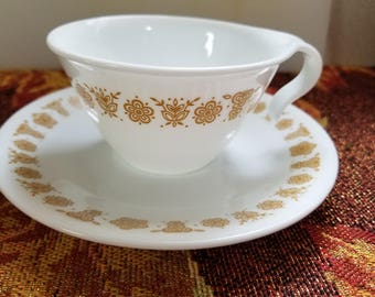 Vintage Butterfly gold corelle tea cup open handled antique mug tea set coffee dishes