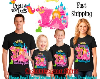 PRINCESS Birthday Girl Theme Family BLACK Shirts For the Entire Family Mom Dad Brother and More T-shirts Long/ Short sleeve Crown Castle