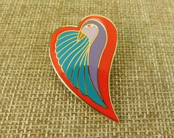 Laurel Burch Dove Heart Pin, Valentine Pin, Valentine Jewelry, Laurel Burch Jewelry, Dove Heart Pin, Laurel Burch Enamel Pin, Enamel Jewelry
