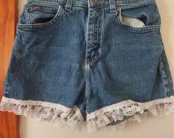 Laced Blue Denim Shorts: Size 6 Medium