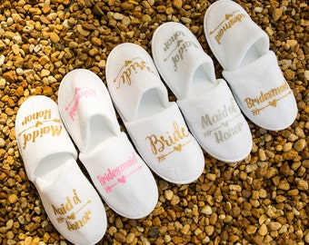 Personalized bridal slippers, bridesmaid slippers,hen party slippers, spa day slippers, bridemaid gift slippers, maid of honor slippers
