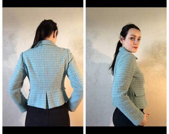 Blue vintage tweed jacket, size M, 1990s, double breasted jacket, blue and gray, womens jacket