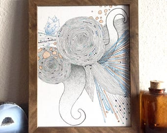 Let Your Heart Sing 1, Drawing, Pen Drawing, Framed Art