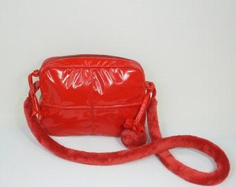 Red Shoulder Bag, Gift for Her, Red Handbag, Gift Idea, Shoulder Bag, Handbag, Glossy Red Shoulder Bag, Glossy Red Handbag, Vinyl Handbag