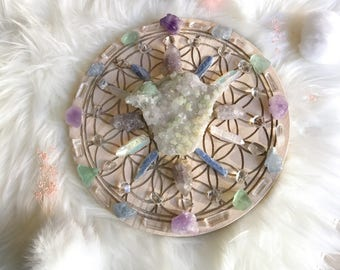 25cm Spiritual and Connection Complete Set of Crystal Grid