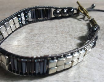 Handmade Black Leather Wrap Bracelet