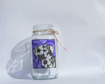 dalmatian dog portrait glass jar