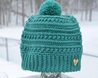 Crocheted Women's Beanie, Crocheted Women's Hat, Pom Pom Hat, Winter Hat