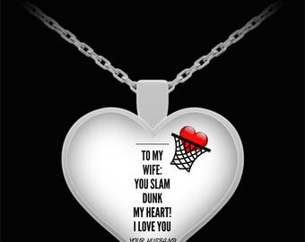 To My WIFE! Heart Pendant Shape, Premium Silver Plated Necklace.