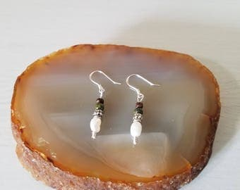 Sterling Silver, Fresh Water Pearl, Unakite and Wood Dangle Earring