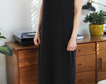 Full Length Cheongsam Vintage 80s Black Evening Gown Short Sleeve Mandarin Collar