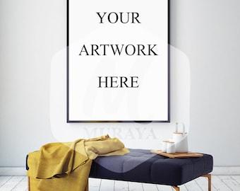Living room frame mockup, Thin black frame, Styled Stock Photograpy, Classic Interior, PSD Mockup, Digital Item, Natural Lighting