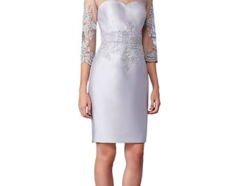 Dress in zibeline and tulle with embroidered application