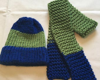 Green and Blue Hat and Scarf Set