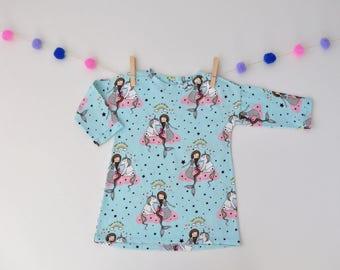 Girl dress, dress for girl, printed girl dress unicorns and mermaids