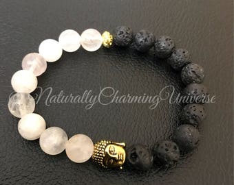 Handcrafted Genuine Rose Quartz and Lava Stone Healing Bracelet