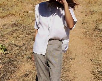 Vintage linen off white safari shirt