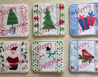 Quilted Christmas Coasters
