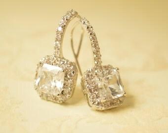 Crystal drop earrings, wedding earrings, crystal earrings, earrings, bridal earrings, dangle earrings