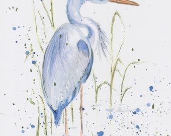 Blue Heron Watercolour Print