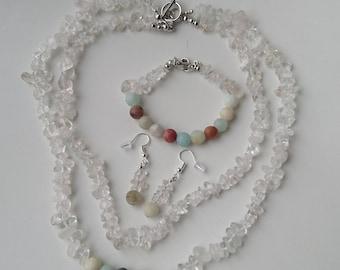 Set, necklace, earrings, bracelet amazonite Rhinestone