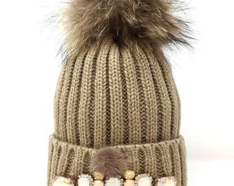 Wool hat pon pon and swarovski