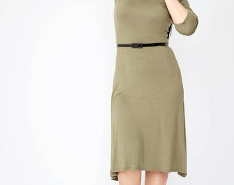 Viscose Belted Midi Dress