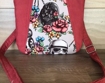 Sunshine Cross Body, Floral Wars, Star Wars, Dusty Rose Faux Suede, Dark Side, Vader, Cosplay, Nerd