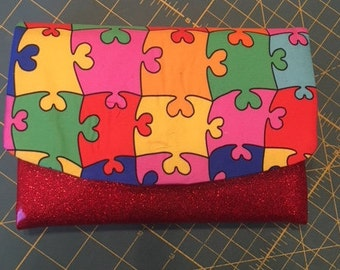 Boon Wallet, Autism, Puzzle Fabric, Red Glitter Vinyl