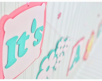 It is a girl, baby girl, baby shower, pink, baby, baby shower decoration ideas, it's a girl banner