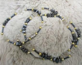 Black crystal necklace and bracelet set