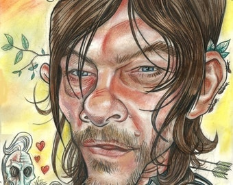 Daryl Dixon ponders...squirrels. A3 print 600 pixels per inch resolution. Signed by the artist.