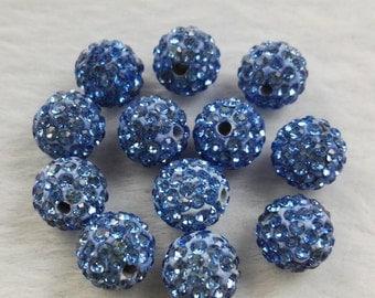 8mm 10mm Shamballa Spacer Beads , Rhinestone Disco Balls ,Light Blue Shamballa Beads, Polymer Clay Beads ,DIY jewelry accessories ,Findings