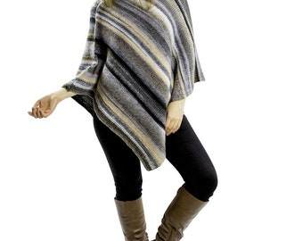 Poncho sweater for women || Grey Knit poncho Boho clothing outfit Hand knitted wool poncho wrap Sweater poncho Chunky womens knitwear
