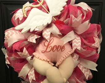 Valentines Wreath, Crashing Cupid Wreath, Front Door Wreath, Deco Mesh Wreath, Valentine Decor, Gift For Her, Ready to Ship