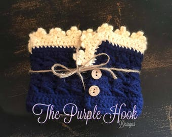 Navy & Cream Crochet Women's Boot Cuffs, Handmade, Crochet Boot Cuffs, Boot Cuffs, Boot Toppers, Ready Made, Available for Purchase, Gift