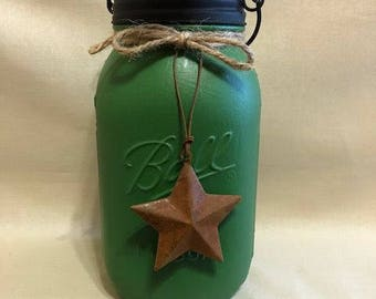 Painted mason jar, Tissue Mason jar, Mason jar, Kleenex, Primitive mason jar, Country madon jar, tissues, rusty star, tissue holder jar