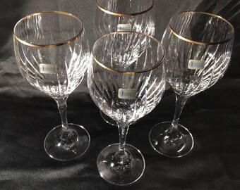 Schott Zwiesel Vintage Wine/ Goblet, Cut Crystal & Gold Rim Glasses