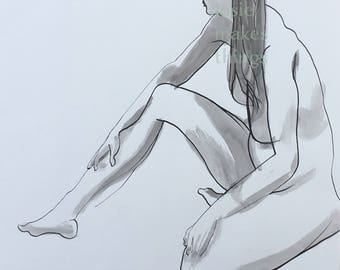 Ink Painting Sitting Original Art Sumi