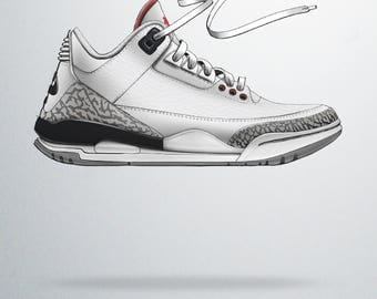 Air Jordan 3 Hella Illustrations Poster