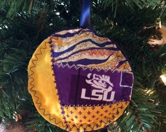 LSU Crazy Quilt Christmas Ornaments