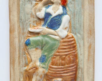 Handmade Ceramic Relief Tile With Peasant Drinking Wine