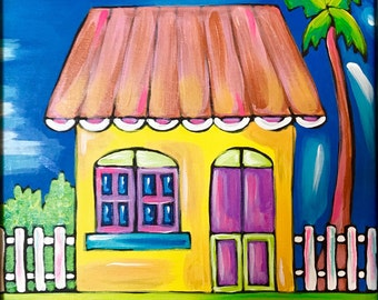 Caribbean Spirit, Original Acrylic Painting On Canvas. Caribbean House. Whimsical painting.