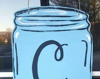 Mason jar initial wooden or burlap door hanger