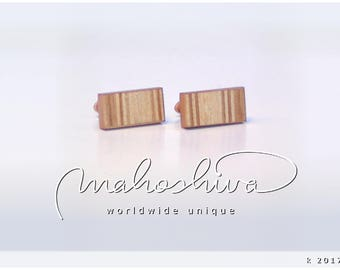 wooden cuff links wood cherry maple handmade unique exclusive limited jewelry - mahoshiva k 2017-90
