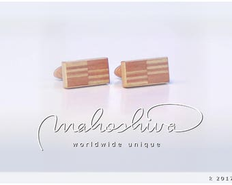 wooden cuff links wood flamed maple maple handmade unique exclusive limited jewelry - mahoshiva k 2017-27