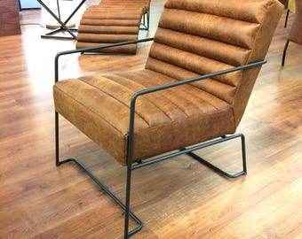 Brown Leather  Armchair Chair  with metal frame Vintage, Retro, Modern, Industrial, Office,