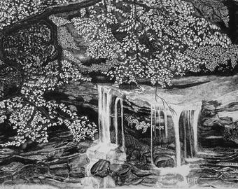 Waterfall Pen & Ink Print