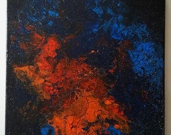 SOLD***NOT AVAILABLE*** Space-- Textured Fluid Acrylic Pour Painting