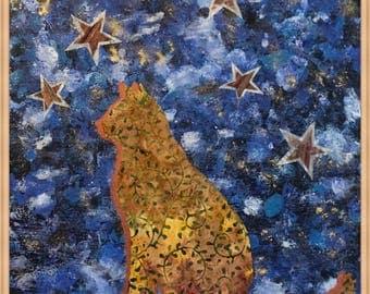 Cat Sitting Under the Stars